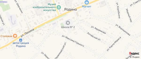Первомайская улица на карте села Родино с номерами домов