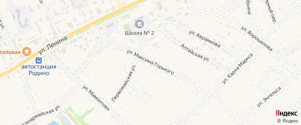 Улица М.Горького на карте села Родино с номерами домов