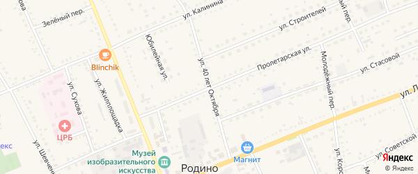 Улица 40 лет Октября на карте села Родино с номерами домов