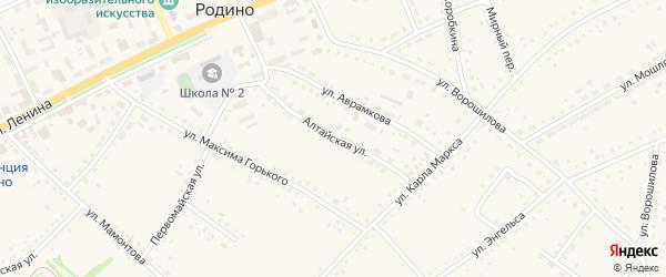 Алтайская улица на карте села Родино с номерами домов