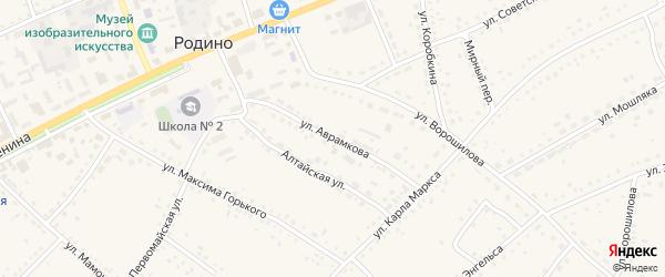 Улица Аврамкова на карте села Родино с номерами домов