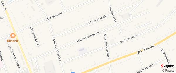 Пролетарская улица на карте села Родино с номерами домов