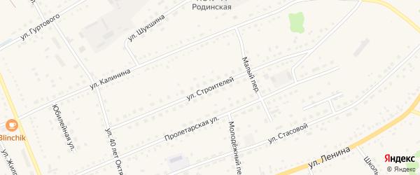 Улица Строителей на карте села Родино с номерами домов