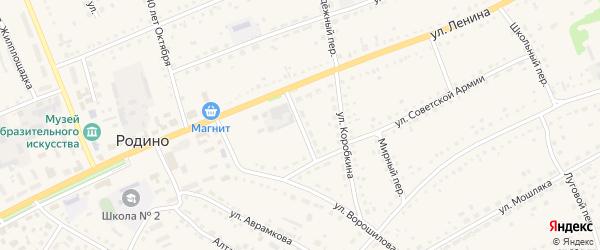 Комсомольский переулок на карте села Родино с номерами домов