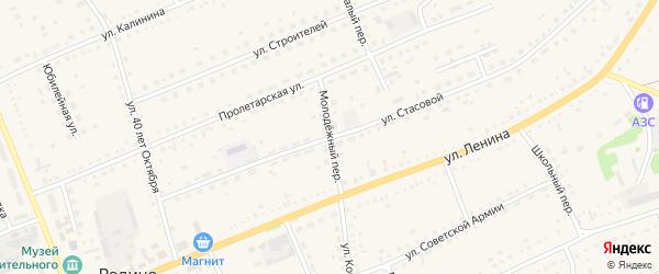 Молодежный переулок на карте села Родино с номерами домов