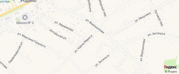 Улица Карла Маркса на карте села Родино с номерами домов