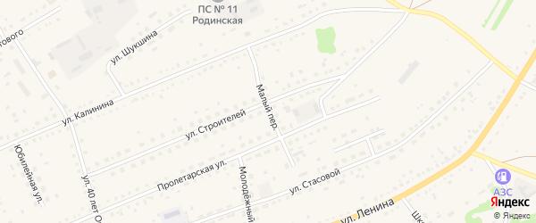 Малый переулок на карте села Родино с номерами домов
