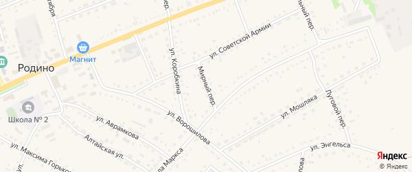 Мирный переулок на карте села Родино с номерами домов