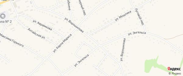 Улица Ворошилова на карте села Родино с номерами домов