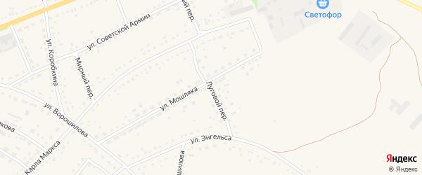 Луговой переулок на карте села Родино с номерами домов