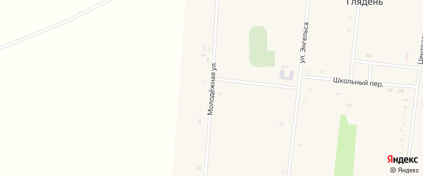 Молодежная улица на карте села Глядени с номерами домов