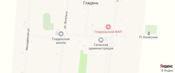Школьный переулок на карте села Глядени с номерами домов