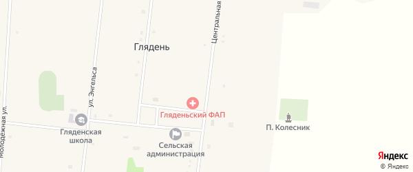 Центральная улица на карте села Глядени с номерами домов