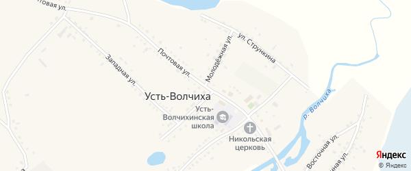 Молодёжная улица на карте села Усть-Волчихи с номерами домов