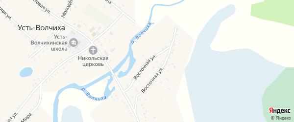 Восточная улица на карте села Усть-Волчихи с номерами домов