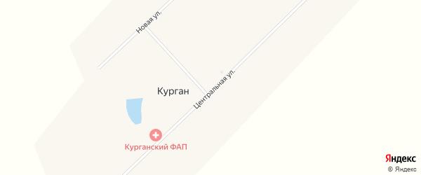 Центральная улица на карте поселка Кургана с номерами домов