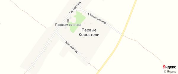Зеленая улица на карте села Первые Коростели с номерами домов