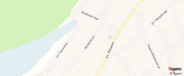 Зеленая улица на карте села Панкрушихи с номерами домов