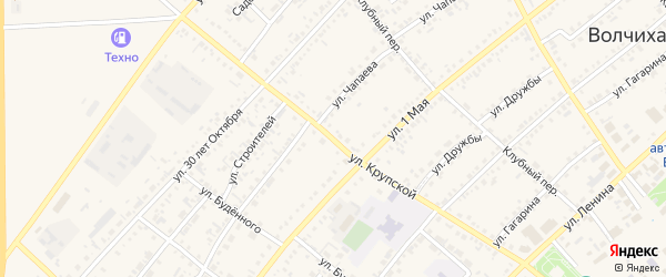 Улица Крупской на карте села Волчихи с номерами домов