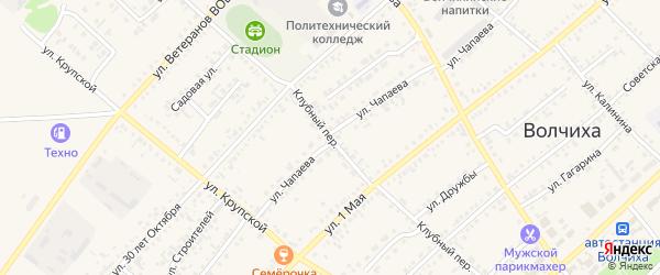 Клубный переулок на карте села Волчихи с номерами домов