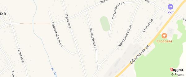 Молодежная улица на карте села Панкрушихи с номерами домов