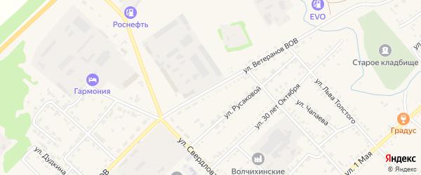 Улица Ветеранов ВОВ на карте села Волчихи с номерами домов