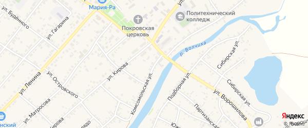 Комсомольская улица на карте села Волчихи с номерами домов