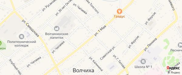 1 Мая улица на карте села Волчихи с номерами домов