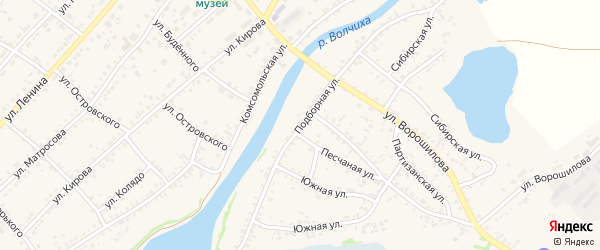 Подборная улица на карте села Волчихи с номерами домов