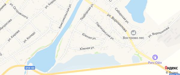 Южная улица на карте села Волчихи с номерами домов