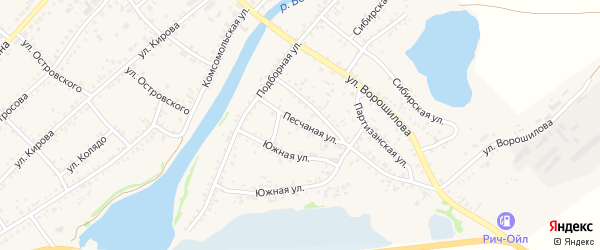 Песчаная улица на карте села Волчихи с номерами домов