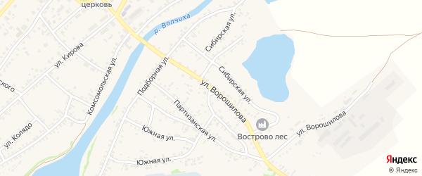 Улица Ворошилова на карте села Волчихи с номерами домов