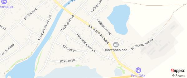 Партизанская улица на карте села Волчихи с номерами домов