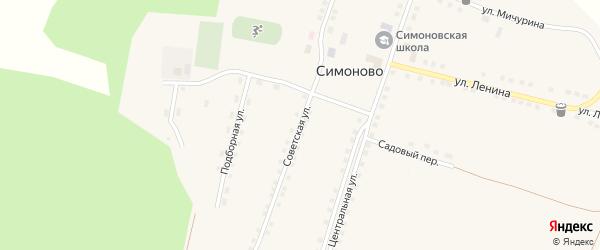 Советская улица на карте села Симоново с номерами домов