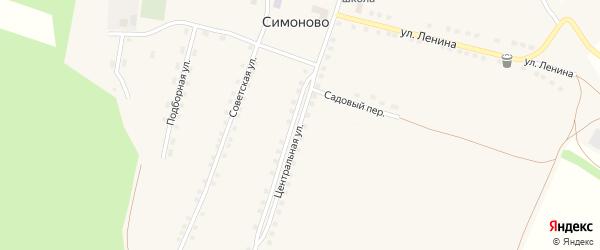 Центральная улица на карте села Симоново с номерами домов