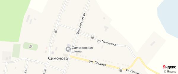 Улица Мичурина на карте села Симоново с номерами домов