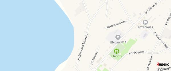 Улица Д.Бедного на карте села Леньки с номерами домов