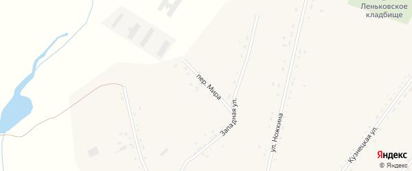 Переулок Мира на карте села Леньки с номерами домов