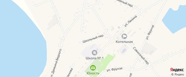 Школьный переулок на карте села Леньки с номерами домов