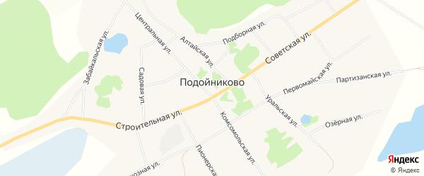 Карта села Подойниково в Алтайском крае с улицами и номерами домов