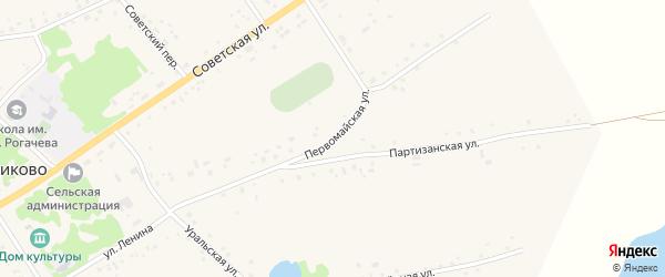 Первомайская улица на карте села Подойниково с номерами домов
