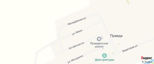 Улица Мира на карте поселка Правды с номерами домов