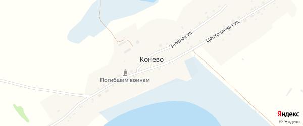 Центральная улица на карте села Конево с номерами домов