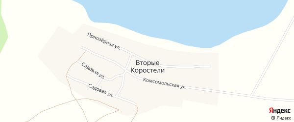 Приозерная улица на карте села Вторые Коростели с номерами домов