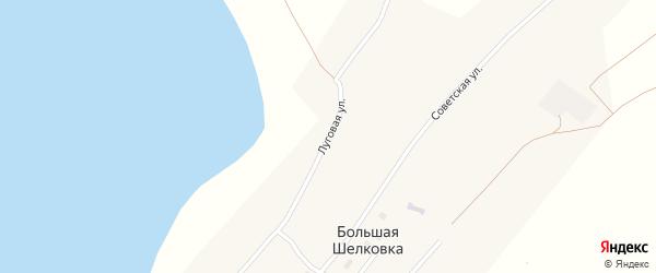 Луговая улица на карте села Большей Шелковки с номерами домов