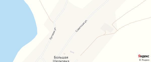 Советская улица на карте села Большей Шелковки с номерами домов