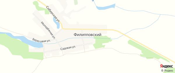 Карта Филипповского поселка в Алтайском крае с улицами и номерами домов