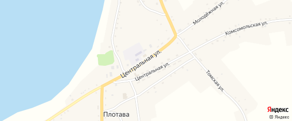 Центральная улица на карте села Плотавы с номерами домов