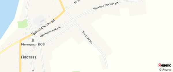 Томская улица на карте села Плотавы с номерами домов