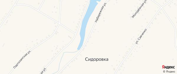 Набережная улица на карте села Сидоровка с номерами домов